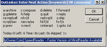 Example outlinker dialog box